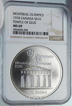1974 CANADA Queen Elizabeth II Olympics Montreal VINTAGE Silver Coin NGC i85341