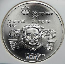1974 CANADA Queen Elizabeth II Olympics Montreal ZEUS Silver $10 Coin NGC i85237