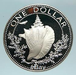 1975 BAHAMAS British Queen Elizabeth II CONCH SHELL Proof Silver $1 Coin i84164