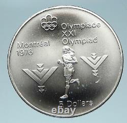 1975 CANADA Queen Elizabeth II Olympics Marathon Athlete Silver $5 Coin i83094
