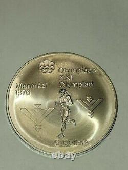 1975 CANADA Silver $5 Coin Queen Elizabeth II Olympics Marathon Runner