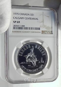 1975 CANADA UK Queen Elizabeth II Calgary 100Years Proof Silver Coin NGC i79865