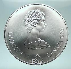 1976 CANADA Queen Elizabeth II Olympics Montreal Fencing Silver $5 Coin i81634