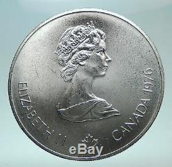 1976 CANADA Queen Elizabeth II Olympics Montreal Village Silver $5 Coin i81961