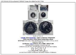1976 CANADA UK Queen Elizabeth II LIBRARY Genuine Silver Dollar Coin NGC i79866