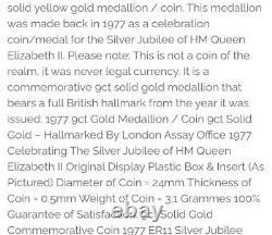 1977 9ct gold Hallmarked Queen Elizabeth silver jubilee Medal/ Medallion coin