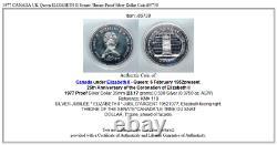 1977 CANADA UK Queen ELIZABETH II Senate Throne Proof Silver Dollar Coin i85738