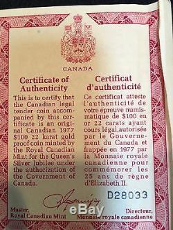 1977 Canada 100 Gold Dollars  Queen Elizabeth Ii Silver Jubilee  Box