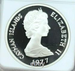 1977 Cayman Islands Silver 25 Dollars Queen Elizabeth I Ngc Pf 70 Ultra Cameo
