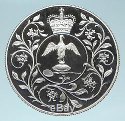 1977 GREAT BRITAIN United Kingdom Queen Elizabeth II SILVER 25 Pence Coin i83122