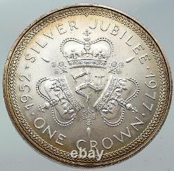 1977 ISLE of MAN Queen Elizabeth II 25Y VINTAGE Silver Jubilee Crown Coin i86243