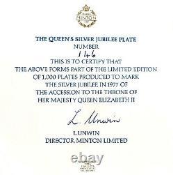 1977 Limited Edition Queen Elizabeth II Silver Jubilee 10.75 Minton China Plate