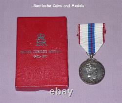 1977 OFFICIAL QUEEN ELIZABETH II SILVER JUBILEE MEDAL Full Size Boxed Original