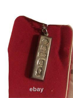 1977 One Ounce Silver Ingot Pendant. Queen Elizabeth II Silver Jubilee