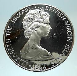 1977 Proof British Virgin Islands Queen Elizabeth II Proof Silver Coin i76719