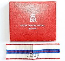 1977 Queen Elizabeth II Silver Jubilee Medal On Ladies' Bow Ribbon, Boxed
