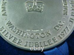 1977 Queen Elizabeth II Silver Jubilee Medal Washington D. C. 60mm Rare