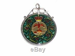 1977 Queen Elizabeth Sterling Silver Enamel Coin Medallion Pendant Multi Color
