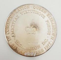 1977 Rare GB Queen Elizabeth II Silver Jubilee Medal Washington 60mm WithOrig Box