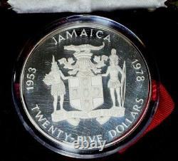 1978 Jamaica $25 Proof Silver Coin 25th Anniversary Queen Elizabeth