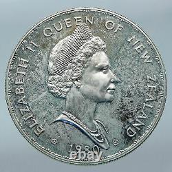 1980 NEW ZEALAND Modified Portrait BIRD Queen Elizabeth II Silver $1 Coin i85548