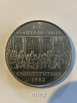1982 CANADA UK Queen Elizabeth II Constitution Silver Dollar Coin