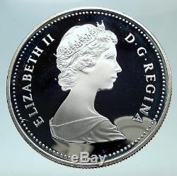 1983 CANADA UK Queen ELIZABETH II Edmonton World Game Proof Silver $ Coin i80858