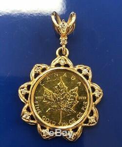 1984 Canada 1/10 oz Gold & Diamonds Maple Leaf Queen Elizabeth II Coin Pendant