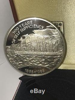 1985 queen elizabeth II 25 Ponds 5oz Silver Proof Coin Case & Certificate RRR