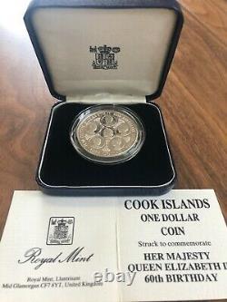 1986 Cook Islands 1 Dollar SILVER PROOF PIEDFORT 60th Birthday Queen Elizabeth