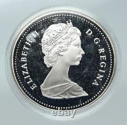 1989 CANADA UK Queen Elizabeth II Mackenzie River CANOE Proof SILVER Coin i85659