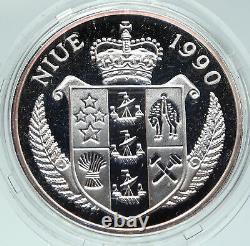 1990 NIUE Queen Elizabeth II USA ADMIRAL HALSEY Old Proof Silver $50 Coin i86311