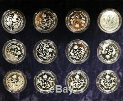 1990 Queen Elizabeth 90th Birthday $2 Silver Proof Coins (12 coins)