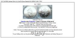 1991 CANADA Authentic Silver 1oz Coin UK Queen Elizabeth II & MAPLE LEAF i70903