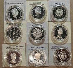 1992-1993 Royal Mint Queen Elizabeth II Coronation 8 Coin Silver Proof Set
