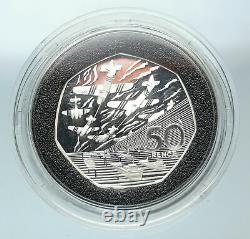 1994 UK United Kingdom Queen Elizabeth II WWII DDay Proof SILVER 50P Coin i84405