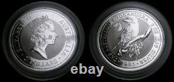 1995 Australia Kookaburra 2 oz Silver 2 Dollars Queen Elizabeth II Privy Mark