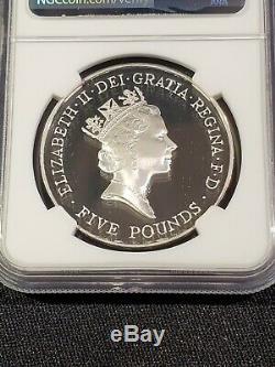 1996 GREAT BRITAIN 5 Pound 70th BIRTHDAY QUEEN ELIZABETH II silver NGC PF 70 UC