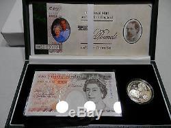 1997 Queen Elizabeth Golden Wedding Anniversary Set 10 lb note Silver Crown 5 lb