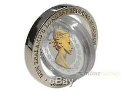 $1 Dollar NZ Longest Reigning Monarch Queen Elizabeth 1 oz silver Rotating 2015