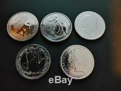 1 oz silver bullion coins Queen Elizabeth Britannia lot of 5