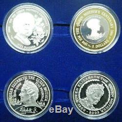 2000 Queen Elizabeth Memorial Collection 925 Silver Proof 12 Coin Set with Box COA
