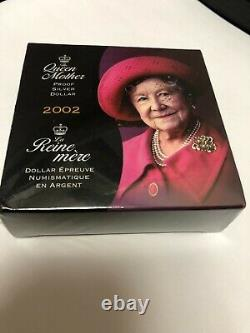 2002 Silver Dollar Coin Canada Elizabeth, The Queen Mother comes with COA