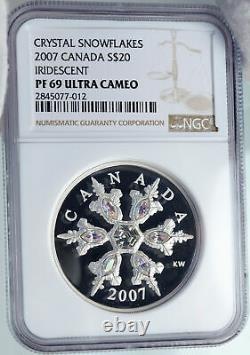 2007 CANADA Queen Elizabeth II 7 SWAROVSKI GEMS Snow Silver $20 Coin NGC i87847