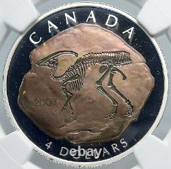 2007 CANADA Queen Elizabeth II DINOSAUR FOSSIL Proof Silver $4 Coin NGC i88915