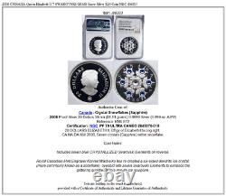2008 CANADA Queen Elizabeth II 7 SWAROVSKI GEMS Snow Silver $20 Coin NGC i86003