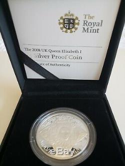 2008 Great Britain Queen Elizabeth I Silver Proof Crown