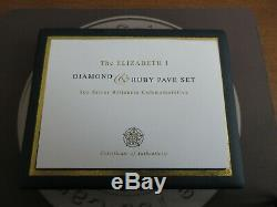2008 Queen Elizabeth 1st SILVER DIAMOND AND RUBY PAVESET 5oz Medallion Boxed COA