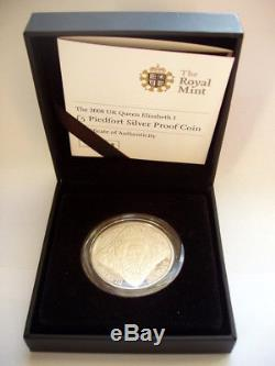 2008 Royal Mint Piedfort Silver Proof £5 Five Pound Coin. The Queen Elizabeth I