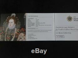 2008 SILVER PROOF £5 PIEDFORT COIN QUEEN ELIZABETH 1 450th ANNI BOX'S + COA